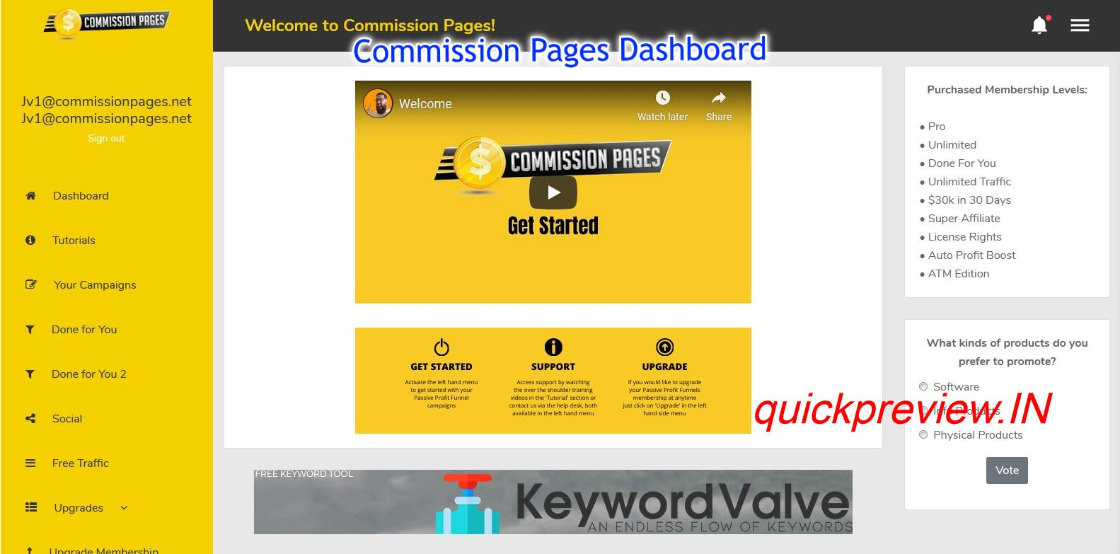Commission Pages software inside 1