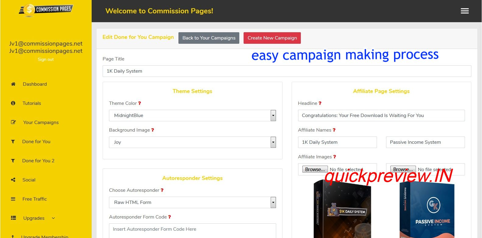 Commission Pages software inside 3