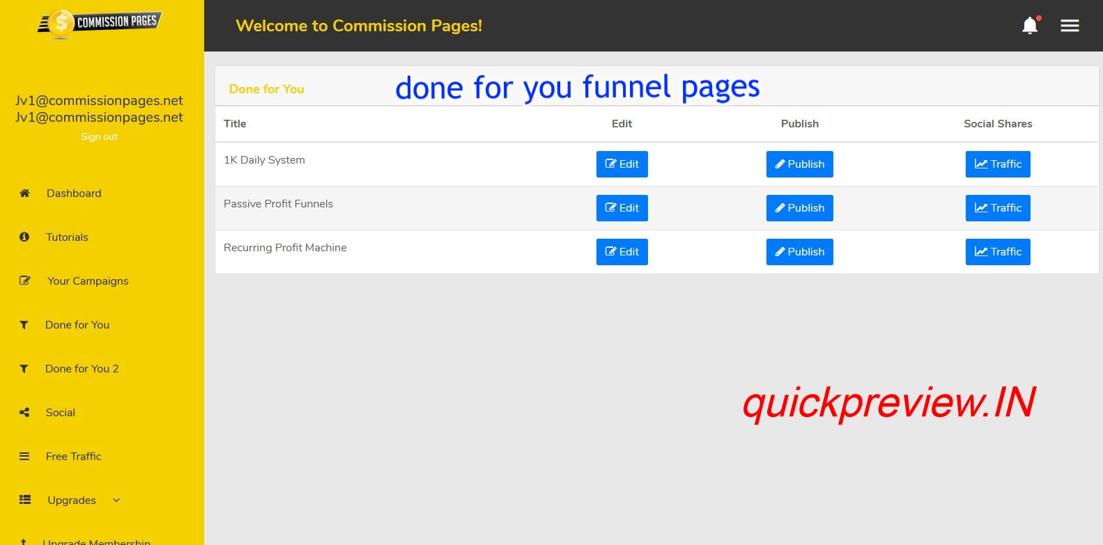 Commission Pages software inside 4