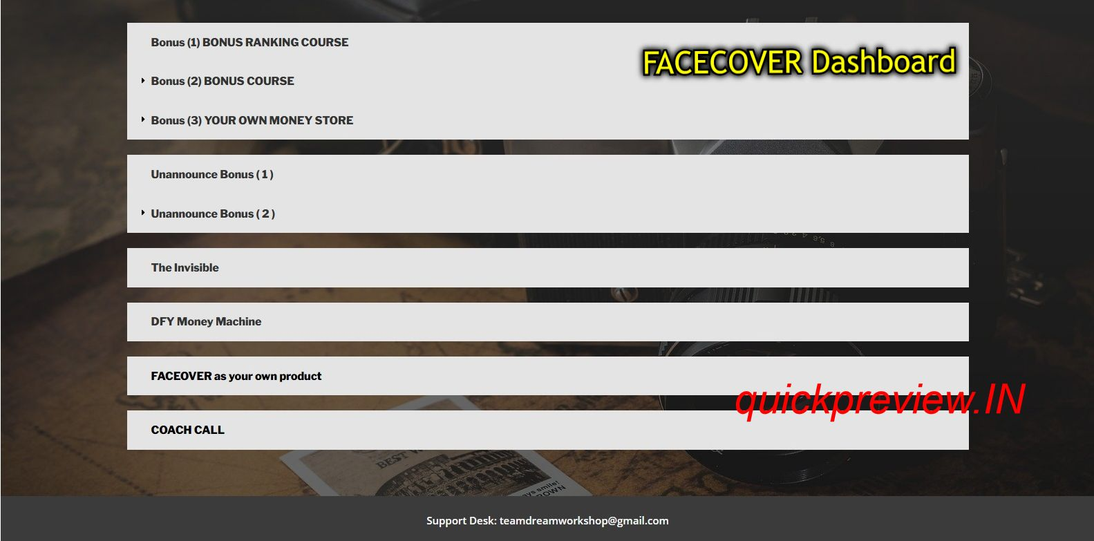 FACECOVER Software inside