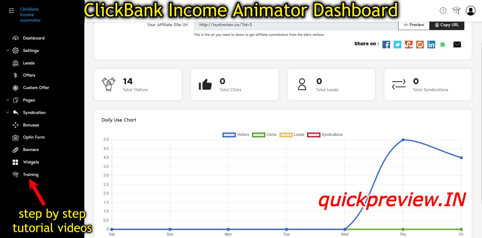 ClickBank Income Animator inside view