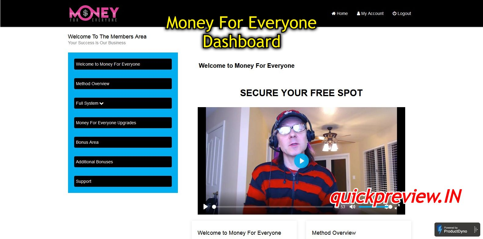 Money For Everyone dashboard