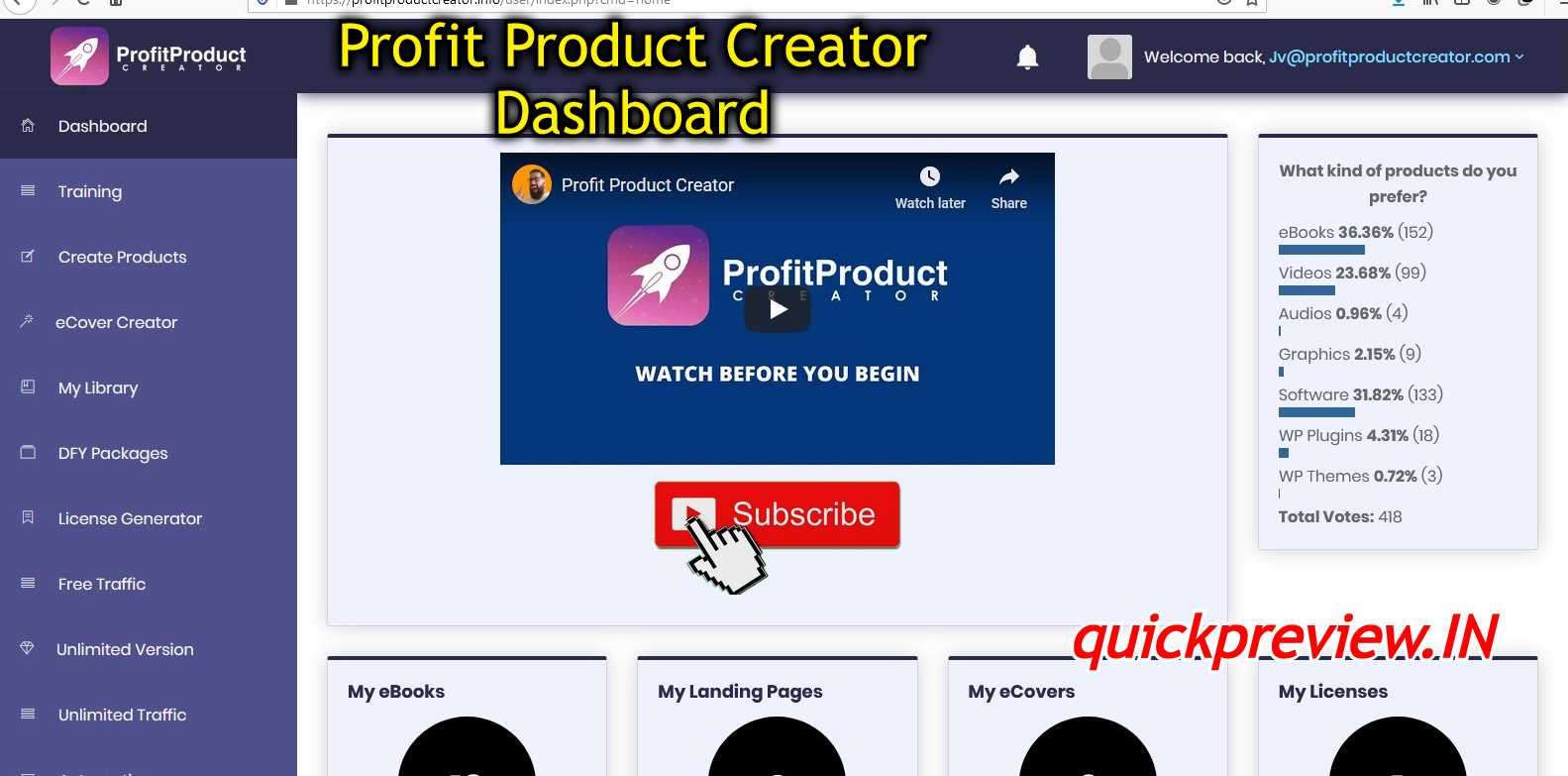 profit product creator inside view