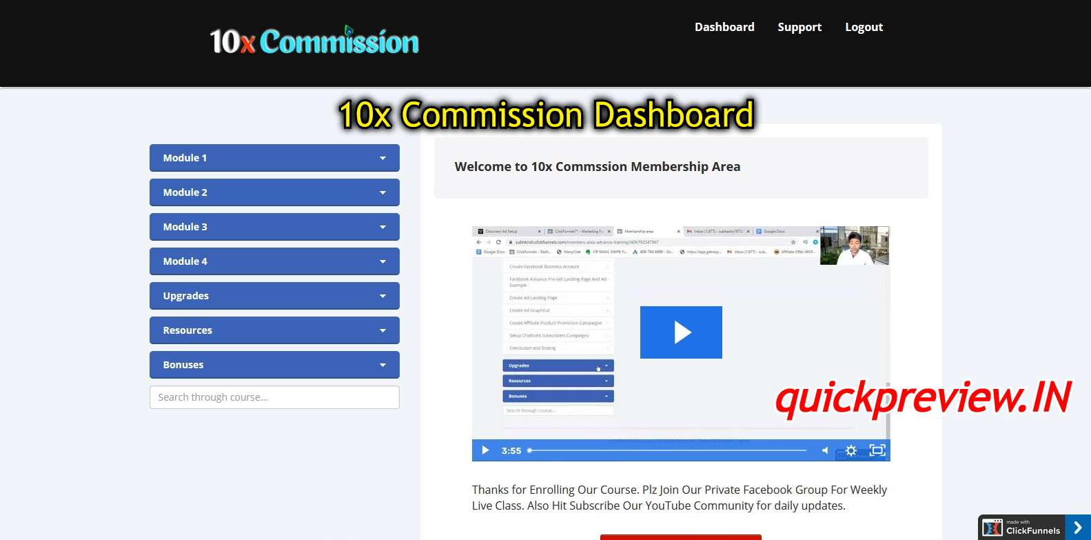 10x Commission dashboard