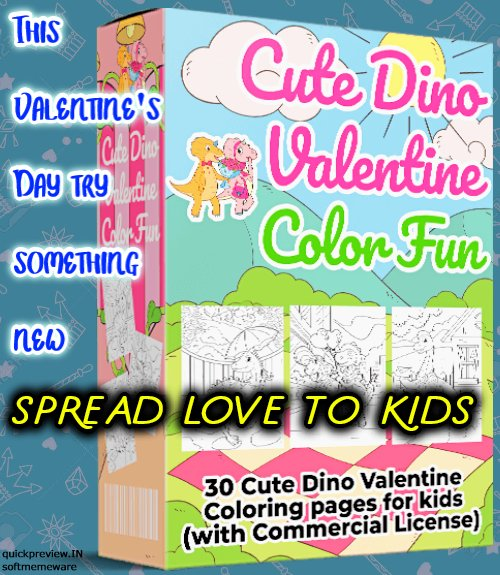 Cute Dino Valentine Color Fun