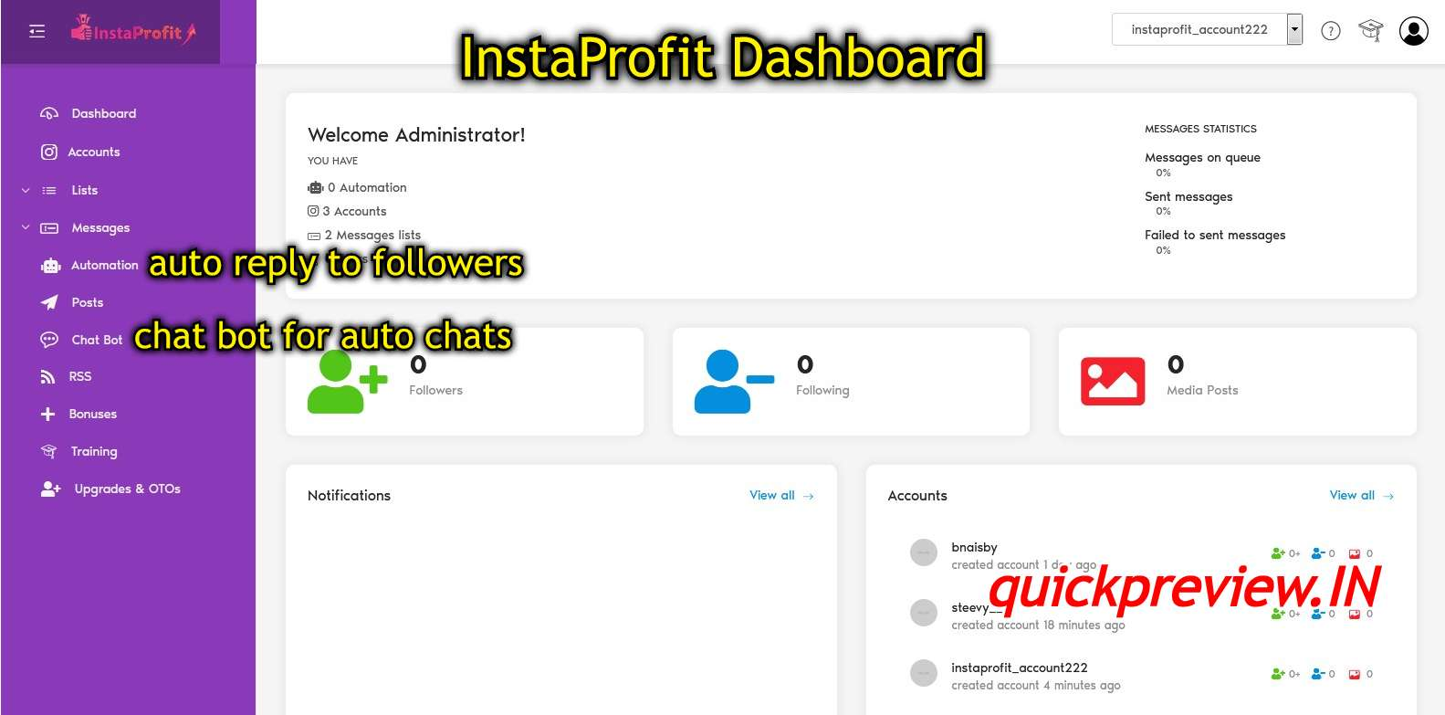 instaprofit dashboard