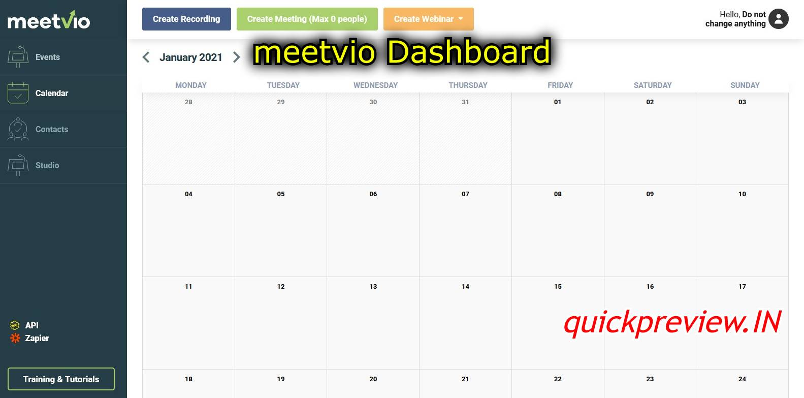 meetvio dashboard