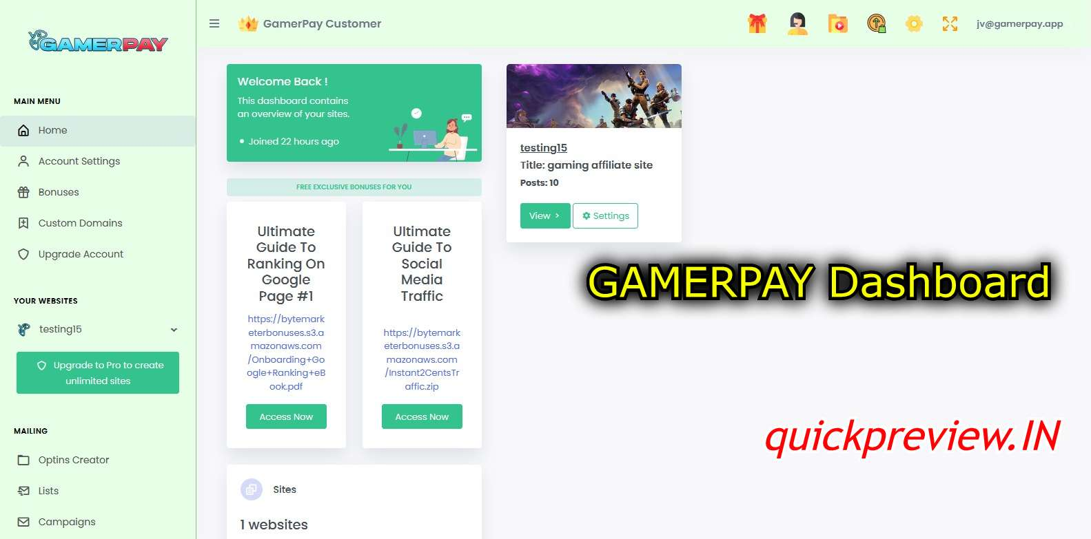 gamerpay dashboard