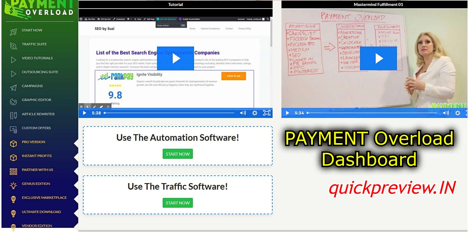 payment overload dashboard