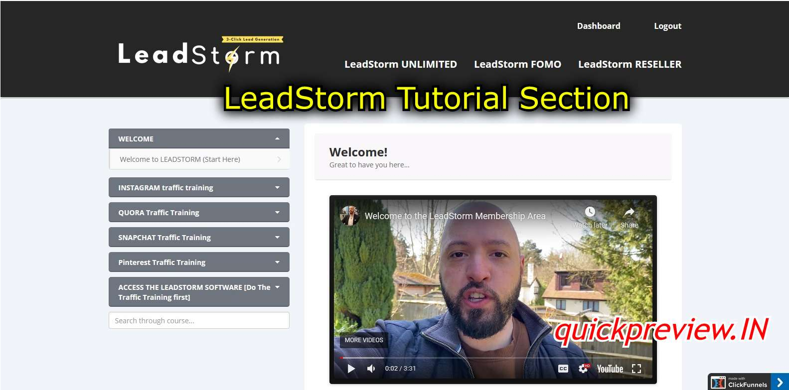 leadstorm tutorial section