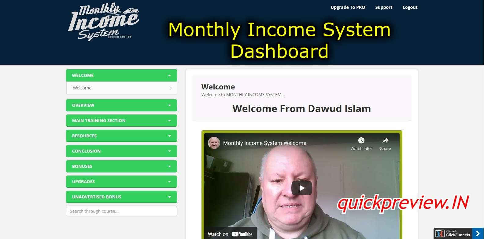 monthly income system dashboard