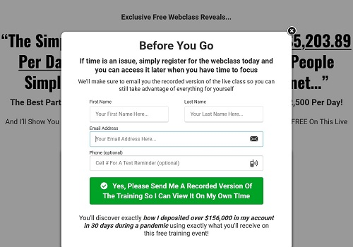 1k a day fast track webinar page